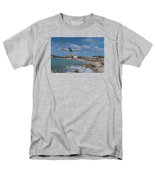 American Airlines Landing At St. Maarten Airport Men's T-Shirt  (Regular Fit) by David Gleeson
