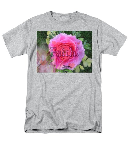 Angels Pink Rose Of Faith Men's T-Shirt  (Regular Fit) by Barbara Tristan