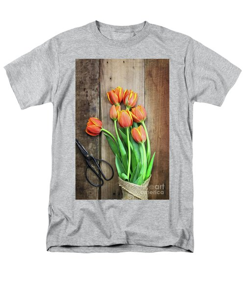 Men's T-Shirt  (Regular Fit) featuring the photograph Antique Scissors And Bouguet Of Tulips by Stephanie Frey