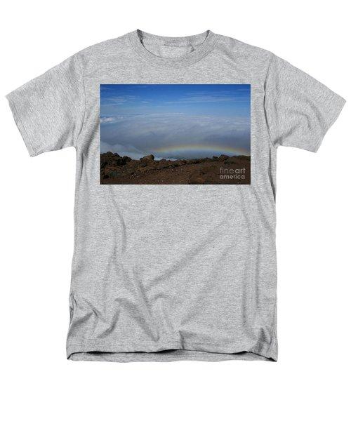 Anuenue - Rainbow At The Ahinahina Ahu Haleakala Sunrise Maui Hawaii Men's T-Shirt  (Regular Fit) by Sharon Mau