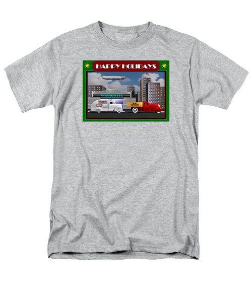 Art Deco Street Scene Christmas Card Men's T-Shirt  (Regular Fit) by Stuart Swartz