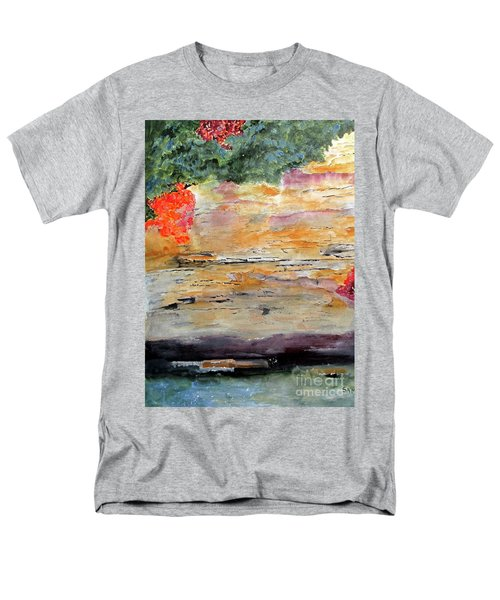 Men's T-Shirt  (Regular Fit) featuring the painting Bank Of The Gauley River by Sandy McIntire