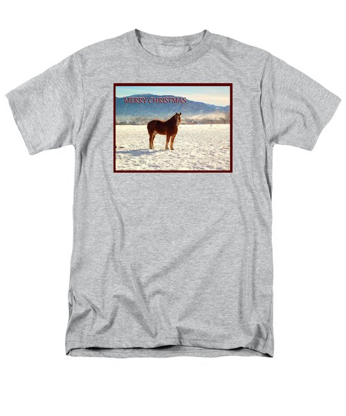 Men's T-Shirt  (Regular Fit) featuring the photograph Belgium Draft Horse Christmas by Deborah Moen