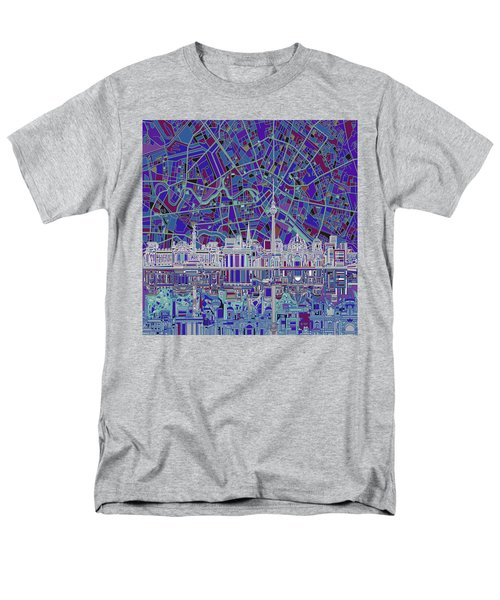 Berlin City Skyline Abstract 3 Men's T-Shirt  (Regular Fit) by Bekim Art