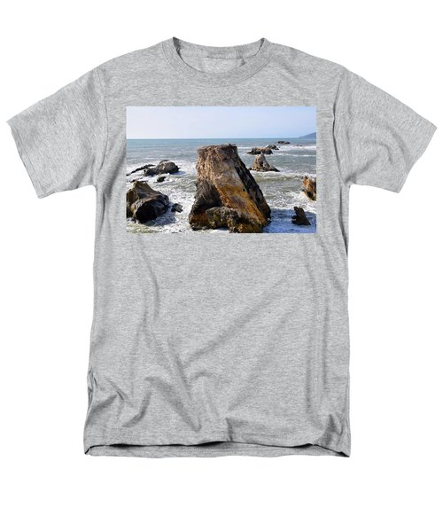 Men's T-Shirt  (Regular Fit) featuring the photograph Big Rocks In Grey Water by Barbara Snyder