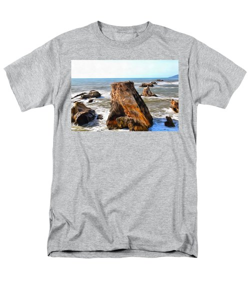 Men's T-Shirt  (Regular Fit) featuring the photograph Big Rocks In Grey Water Painting by Barbara Snyder