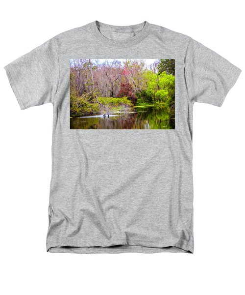 Men's T-Shirt  (Regular Fit) featuring the photograph Birds Playing In The Pond 3 by Madeline Ellis