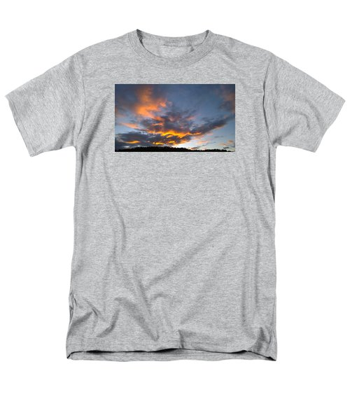 Blue And Orange Sunset Over Blue Ridge Mountains Men's T-Shirt  (Regular Fit) by Kelly Hazel