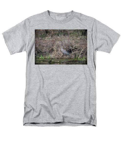 Men's T-Shirt  (Regular Fit) featuring the photograph Blue Heron Stalking Dinner by David Bearden