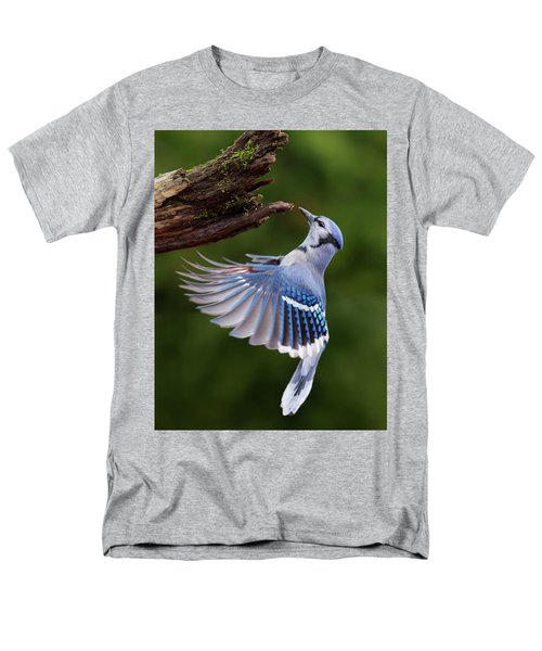 Men's T-Shirt  (Regular Fit) featuring the photograph Blue Jay In Flight by Mircea Costina Photography
