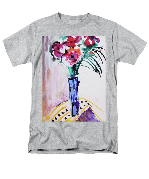 Blue Vase With Red Wild Flowers Men's T-Shirt  (Regular Fit) by Amara Dacer