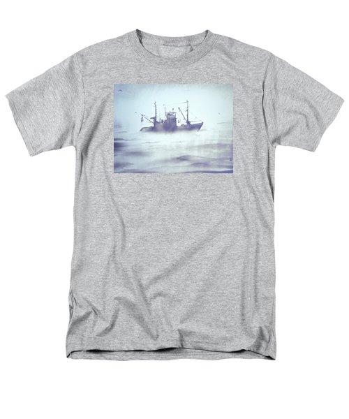 Boat In The Foggy Sea Men's T-Shirt  (Regular Fit) by Elena Vedernikova
