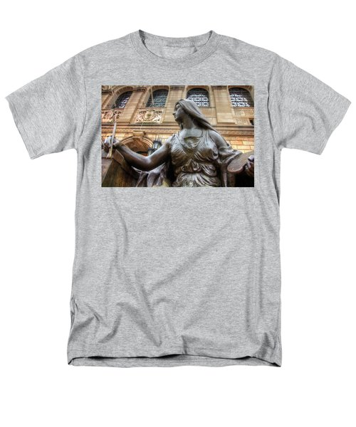 Men's T-Shirt  (Regular Fit) featuring the photograph Boston Public Library Lady Sculpture by Joann Vitali