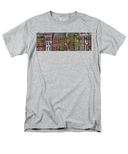 Men's T-Shirt  (Regular Fit) featuring the photograph Brownstone Panoramic - Beacon Street Boston by Joann Vitali