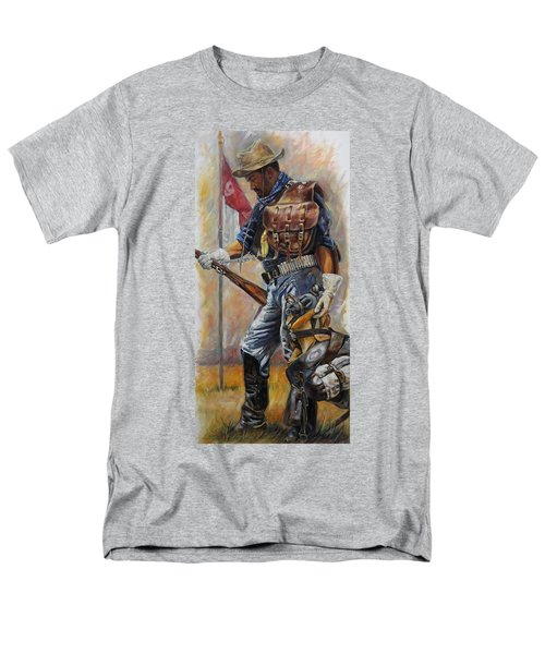 Men's T-Shirt  (Regular Fit) featuring the painting Buffalo Soldier Outfitted by Harvie Brown