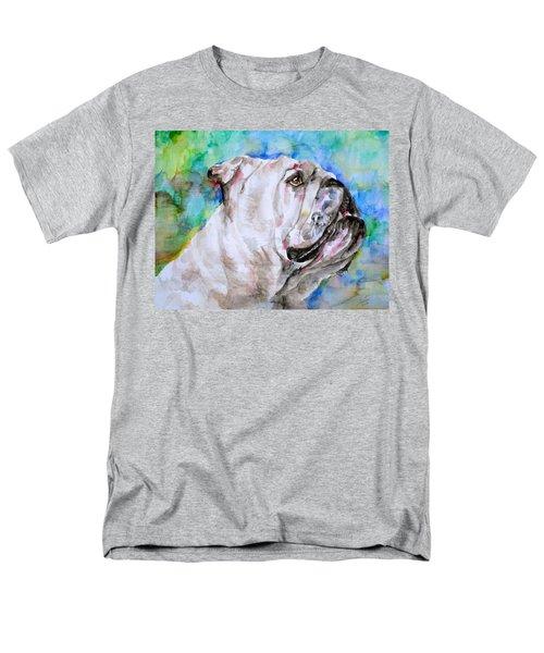Men's T-Shirt  (Regular Fit) featuring the painting Bulldog - Watercolor Portrait.4 by Fabrizio Cassetta