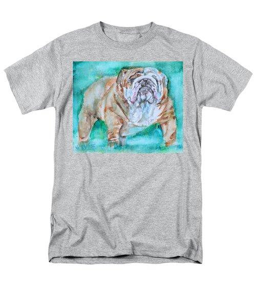 Men's T-Shirt  (Regular Fit) featuring the painting Bulldog - Watercolor Portrait.6 by Fabrizio Cassetta