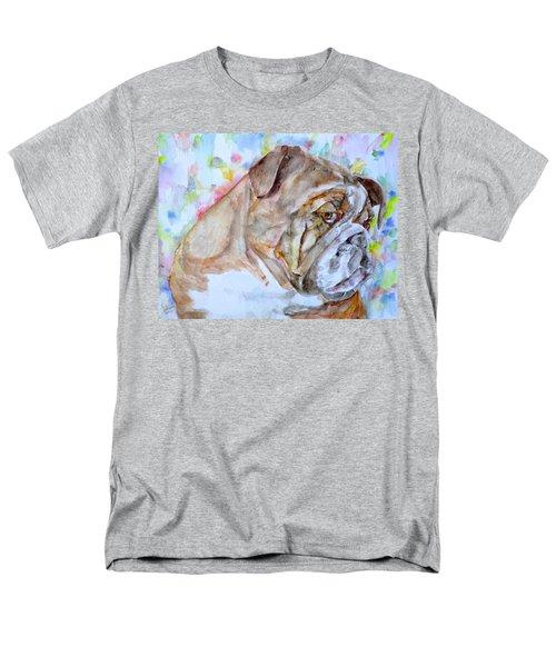 Men's T-Shirt  (Regular Fit) featuring the painting Bulldog - Watercolor Portrait.7 by Fabrizio Cassetta