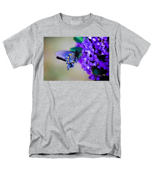 Men's T-Shirt  (Regular Fit) featuring the photograph Butterfly On Mountain Laurel by Debbie Karnes
