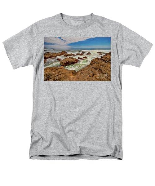 California Coast Waves On Rocks Ap Men's T-Shirt  (Regular Fit) by Dan Carmichael