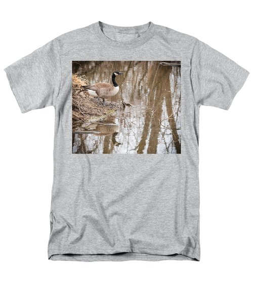 Men's T-Shirt  (Regular Fit) featuring the photograph Canada Geese Reflection by Edward Peterson