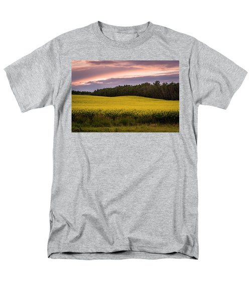 Men's T-Shirt  (Regular Fit) featuring the photograph Canola Crop Sunset by Darcy Michaelchuk