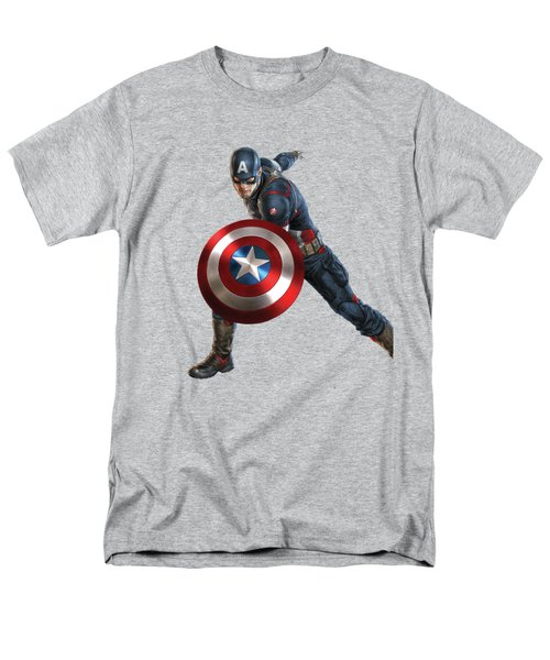 Men's T-Shirt  (Regular Fit) featuring the mixed media Captain America Splash Super Hero Series by Movie Poster Prints