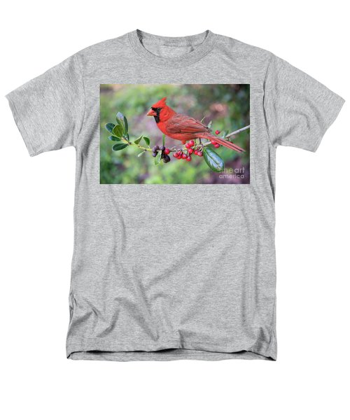 Men's T-Shirt  (Regular Fit) featuring the photograph Cardinal On Holly Branch by Bonnie Barry