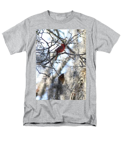 Cardinals In Mossy Tree Men's T-Shirt  (Regular Fit) by Carol Groenen