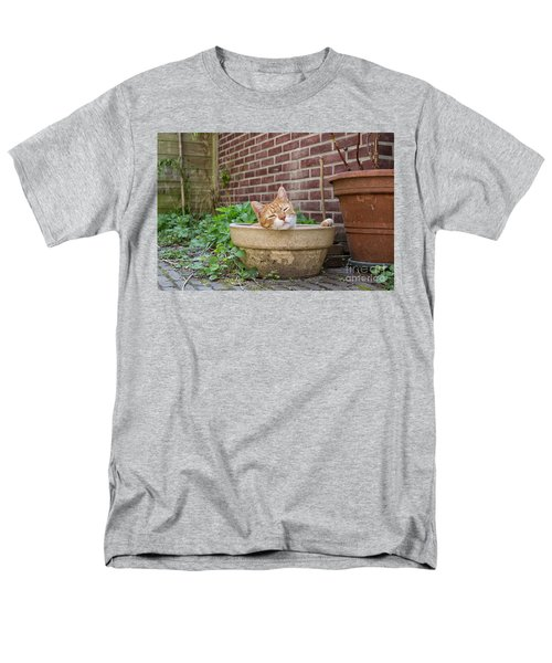 Men's T-Shirt  (Regular Fit) featuring the photograph Cat In Empty Pot by Patricia Hofmeester