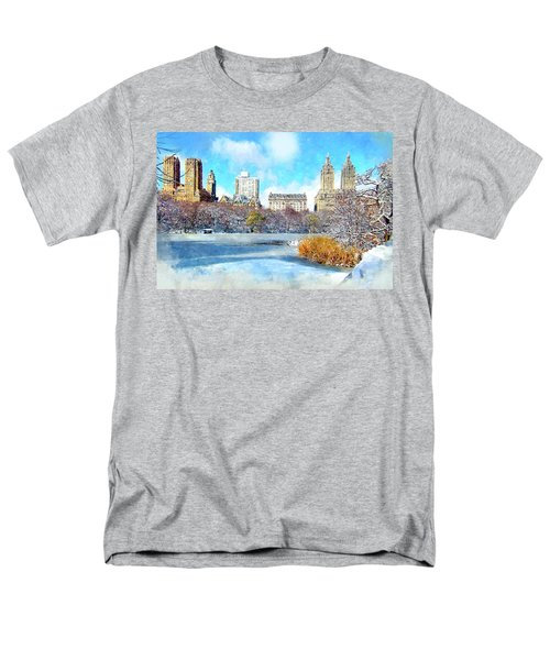 Men's T-Shirt  (Regular Fit) featuring the digital art Central Park In Winter by Kai Saarto