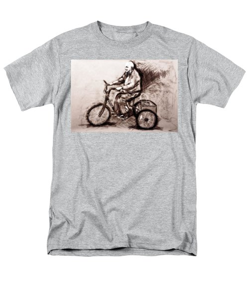 Charcoal Drawing Of Pedal To The Metal By Ayasha Loya Men's T-Shirt  (Regular Fit) by Ayasha Loya