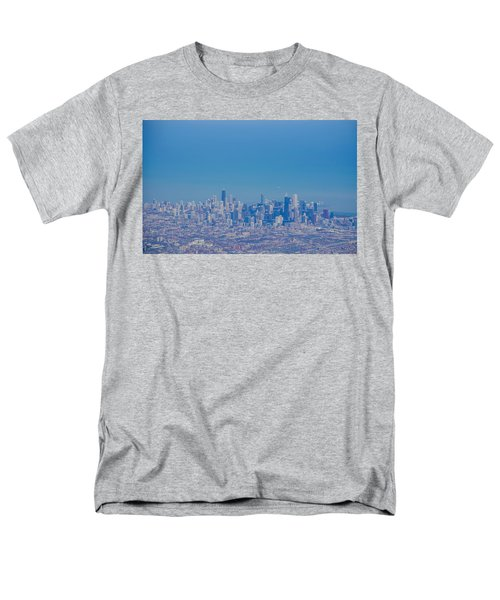 Men's T-Shirt  (Regular Fit) featuring the photograph Chicago Skyline Aerial View by Deborah Smolinske
