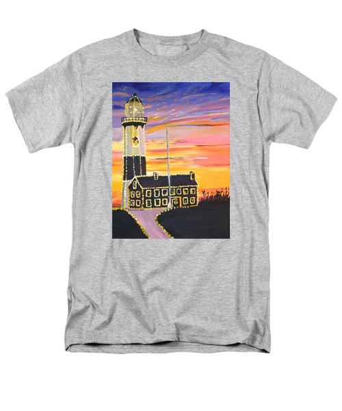 Christmas At The Lighthouse Men's T-Shirt  (Regular Fit) by Donna Blossom