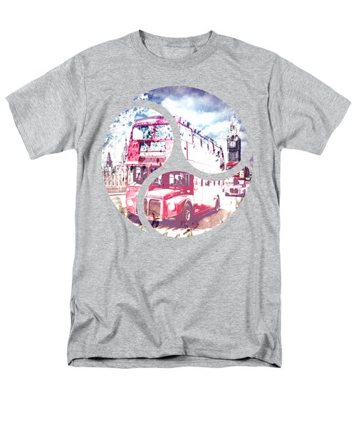 City-art London Red Buses On Westminster Bridge Men's T-Shirt  (Regular Fit) by Melanie Viola