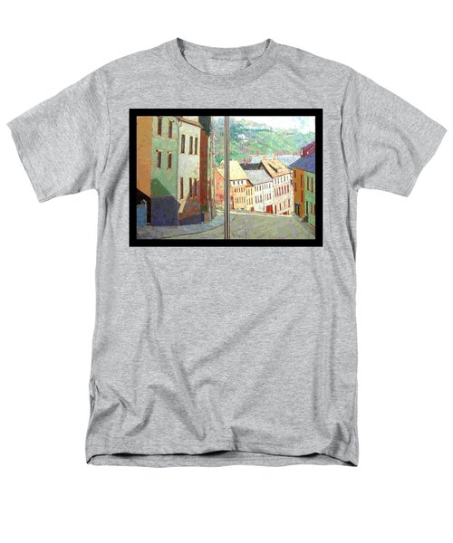 Men's T-Shirt  (Regular Fit) featuring the painting City Scape-dyptich by Walter Casaravilla