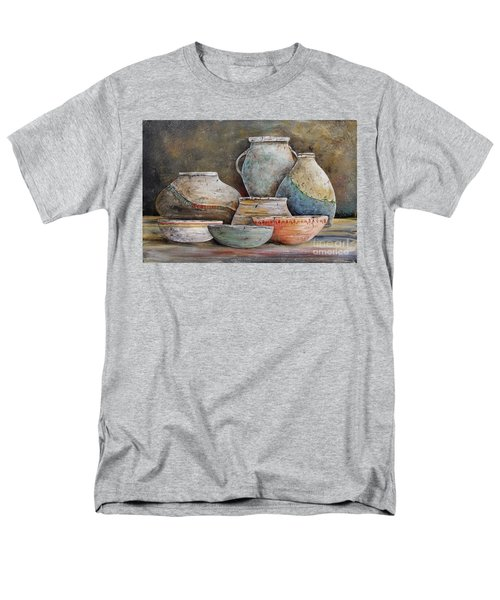 Men's T-Shirt  (Regular Fit) featuring the painting Clay Pottery Still Lifes-a by Jean Plout