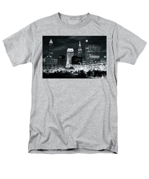 Cleveland Iconic Night Lights Men's T-Shirt  (Regular Fit) by Frozen in Time Fine Art Photography