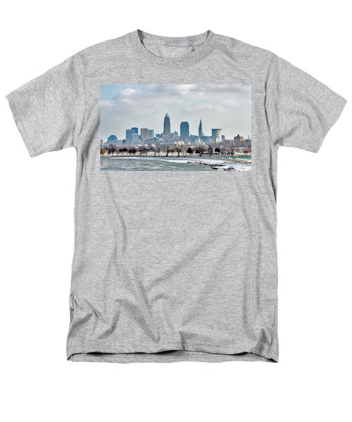 Cleveland Skyline In Winter Men's T-Shirt  (Regular Fit) by Bruce Patrick Smith