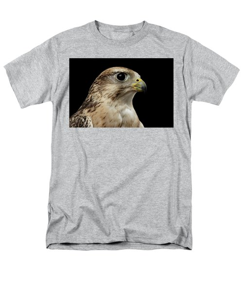 Close-up Saker Falcon, Falco Cherrug, Isolated On Black Background Men's T-Shirt  (Regular Fit) by Sergey Taran