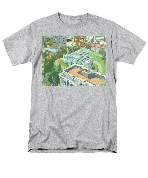 Men's T-Shirt  (Regular Fit) featuring the painting Contemporary Richmond Virginia Cityscape Painting Featuring Virginia State Capitol Building by Robert Joyner