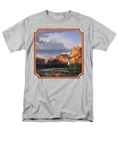 Deer Meadow Mountains Western Stream Deer Waterfall Landscape - Square Format Men's T-Shirt  (Regular Fit) by Walt Curlee