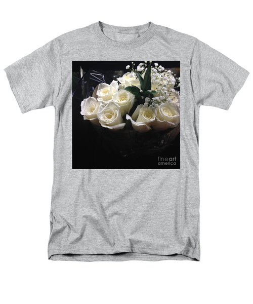 Men's T-Shirt  (Regular Fit) featuring the photograph Dozen White Bridal Roses by Richard W Linford