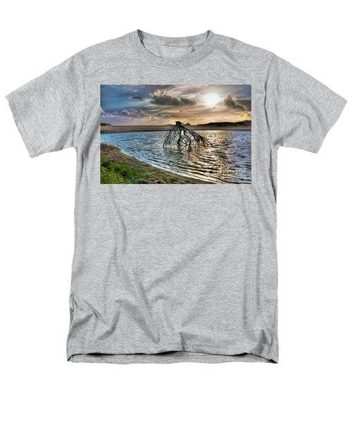 Driftwood In A Tide Pool Outer Banks Ap Men's T-Shirt  (Regular Fit) by Dan Carmichael