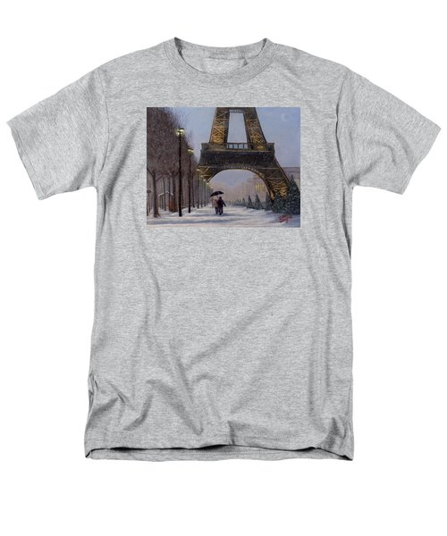 Men's T-Shirt  (Regular Fit) featuring the painting Eiffel Tower In The Snow by Dan Wagner