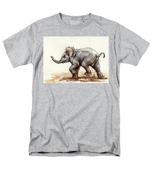 Elephant Baby At Play Men's T-Shirt  (Regular Fit)