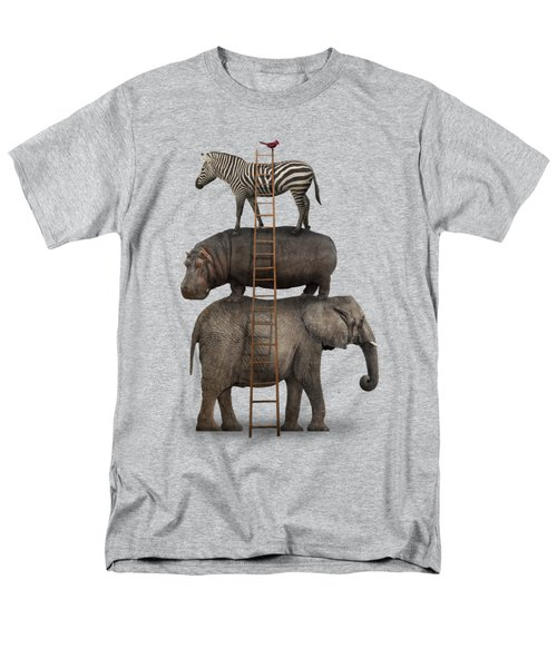 Elephant, Hippo, Zebra Animal Stack With A Cardinal Men's T-Shirt  (Regular Fit)