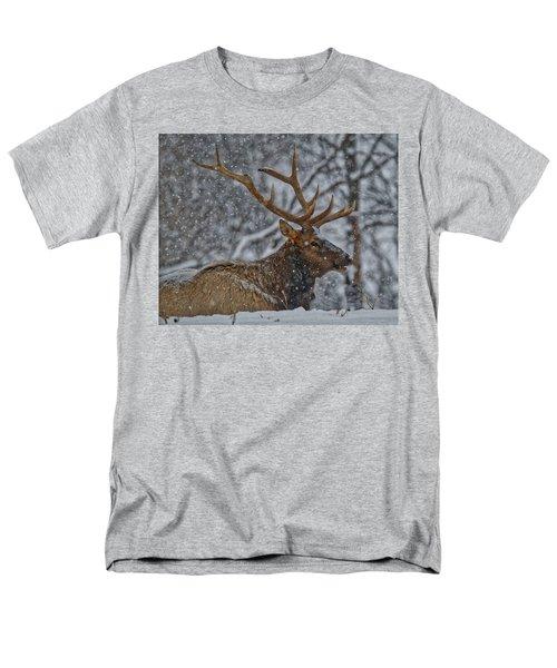 Elk Enjoying The Snow Men's T-Shirt  (Regular Fit) by Michael Peychich