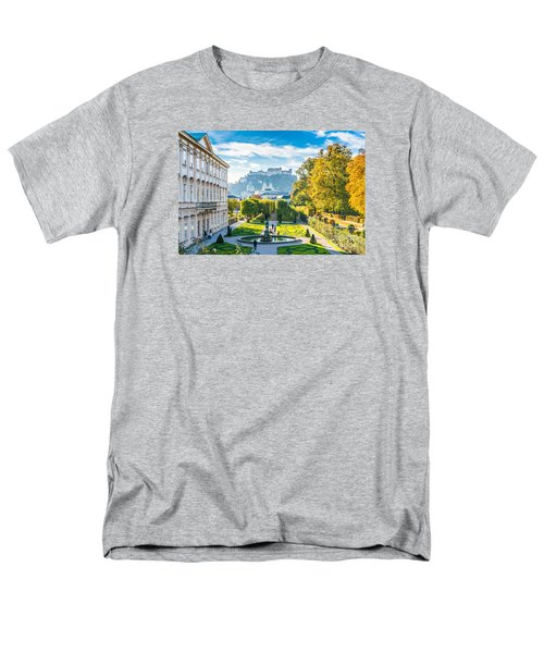 Famous Mirabell Gardens With Historic Fortress In Salzburg, Aust Men's T-Shirt  (Regular Fit) by JR Photography