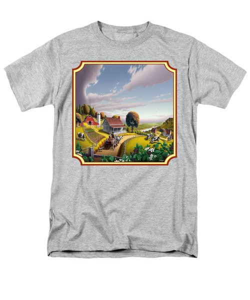 Farm Americana - Farm Decor - Appalachian Blackberry Patch - Square Format - Folk Art Men's T-Shirt  (Regular Fit) by Walt Curlee